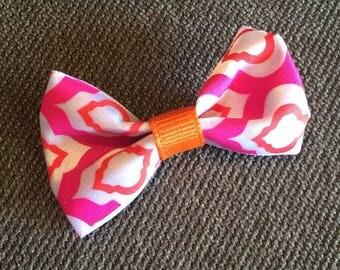 Pink and Orange Moroccan Tile Tuxedo Hair Clip
