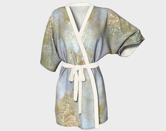 Ethereal Kimono Robe Wedding Robes Bridesmaid Robe Kimono Knit Chiffon Bathrobe Bridal Robe Bridesmaid Gift Idea Original Abstract Art