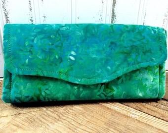 Green Leaf Batik Wallet Clutch