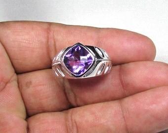 3.44 CT Amethyst Gemstone & 925 Sterling Silver Designer Ring, Size-9 US-ET-R022