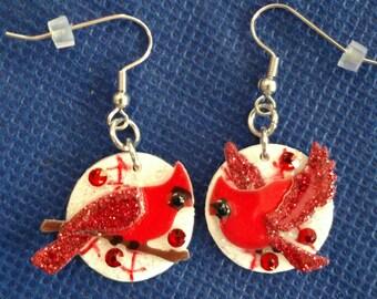 Cardinal Baseball Earrings