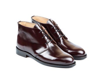 Men Handmade Ankle Boots in Polished Bordeaux Leather - Ankle Hickory