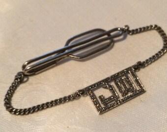 Vintage Marcasite Tie Clip, Deco Period, Initials 'JW'