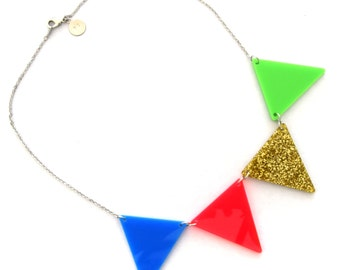 Bunting Necklace- Colorful minimalist necklace- graphic statement necklace- gift for her - unique handmade necklace