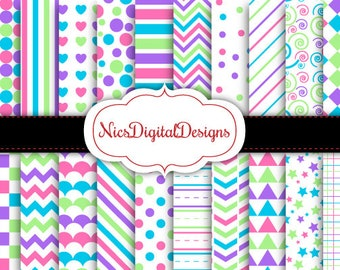 Buy 2 Get 1 Free-20 Digital Paper. 4 Tone Colours in Cupcake Colours (15B no 2) for Personal Use and Small Commercial Use Scrapbooking