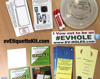 EV Etiquette Kit - Electric Vehicle Teaching / Learning Notes / Cards - evEtiquette WindShieldNotes evfrisbee evholes icehole gashole
