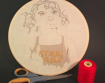 Art hoop 10 inchs embroidery, textile art,  Autoportrait, portrait, star wars. Modern embroidery on raw-cotton. ready to hang, light weight