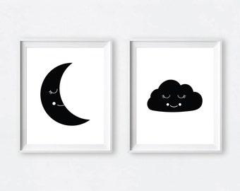 Nursery Art, Nursery Printable, Childrens Art, Moon Print, Scandinavian Art, Kids Art, Scandinavian Nursery, Nursery Poster, Moon Printable