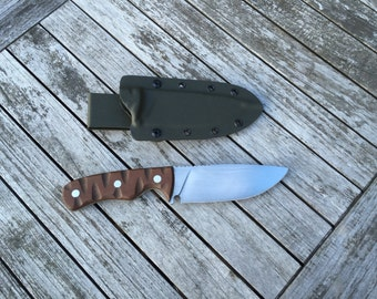 """Hand Made 1095 Carbon Steel Camping Knife """"The Stilly"""" with Micarta Handles and Kydex Sheath. Made in the USA"""
