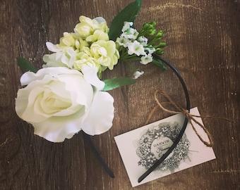 White Flower Crown Headpiece Fascinator