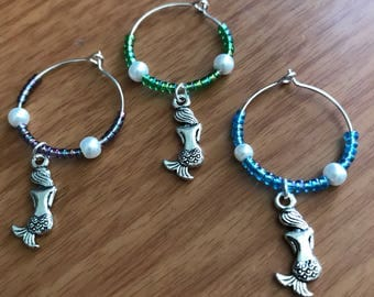 Mermaid wine charms (set of 3)