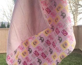 Pink Elephant Flannel Baby Blanket, Baby Girl Flannel Blanket, Stroller Blanket, Tummy Time Flannel Blanket