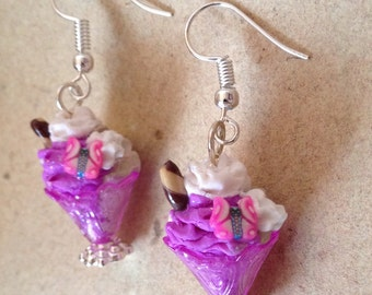 Earrings mixed sundae purple, with biscuit, cream and butterfly