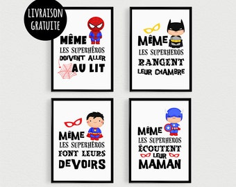 PROMO: Set of 4 Posters quotes Super Hero kids to put in frames in a bedroom or bathroom. Scandinavian poster