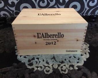 """Italian wooden wine crate - 2012 Grattamacco """"L'Alberello"""" Bolgheri Superiore"""