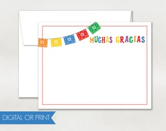 Fiesta Party Thank You, Muchas Gracias Note Card, Papel Picado Note Card, Printable Note Card, Printed Flat Note Card, Back Design Included