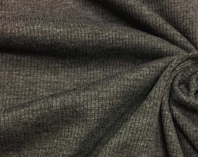 2x1 Rib Knit Fabric (Wholesale Price Available By the Bolt) USA Made Premium Quality - 6130PR2 Charcoal - 1 Yard