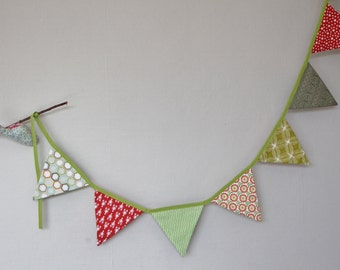 Bunting in shades of green and Red