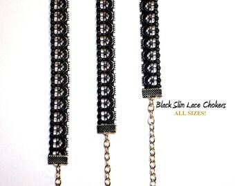 Black Lace Choker / Lace Choker / Black Choker / Skinny Black Choker / Black Slim Lace Choker