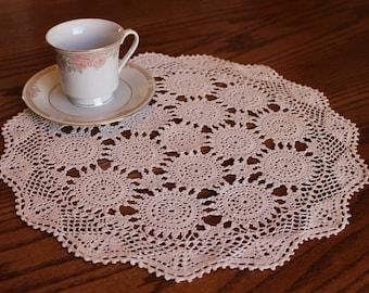 Vintage Crochet Doilie, Handmade Ecru Doily, Victorian Decor, French Country, Shabby Chic, Retro Decor, Table topper, Center Piece #86