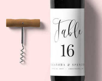 Table Number Wine Label-Instant Download-Table Number-Editable Wine Label-Digital Calligraphy--Wedding Wine Label -#SN015_WLC