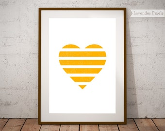 Printable wall art Geometric print Love heart poster Nursery art Yellow wall print Valentines day Gift for her Anniversary Gift for women