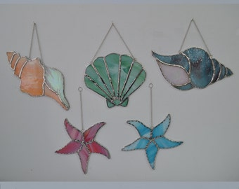 Sea shell collection set of 5 stained glass suncatchers
