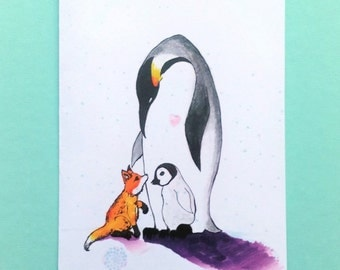 SALE 40% OFF:The nice mother penguin watercolor illustration/wish card