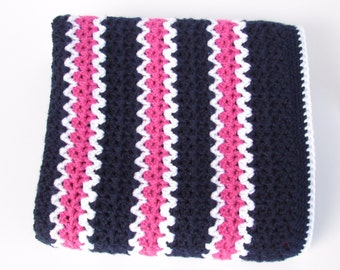 Crocheted Baby Blanket in Navy, White and Fuchsia-Crocheted Throw