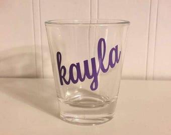 Custom monogram shot glass 21 birthday gift