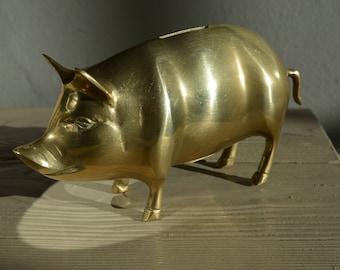 Retro Brass Piggy Bank