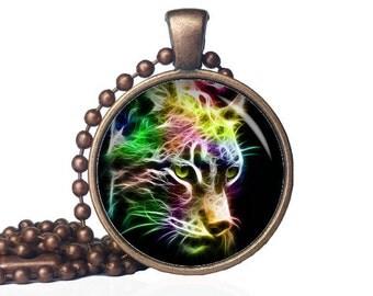 Neon Animals - Cheetah Necklace - Cheetah Pendant - Cheetah Jewelry - Psychedelic - Wild Animals - Animal Necklace - Animal Pendant -Big Cat