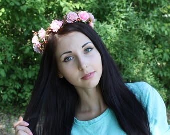 Floral crown Hair wreath Wedding wreath Bridal crown Floral headpiece Floral wreath Bridal flower crown  Rustic flower crown Boho wreath