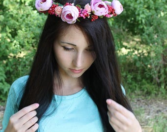 Ready to shipping Rustic Floral Hair wreath Flower crown Wedding  Flower girl wreath  Flower girl halo  Hair wreath Rustic flower crown Boho