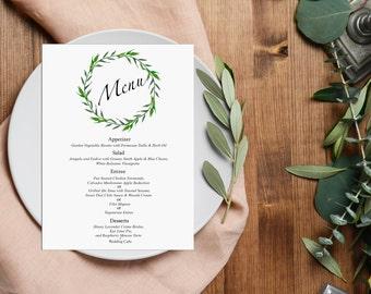 Wedding Menu Printable, Wedding Menu card, laurel wreath, Printable Menu, Dinner Menu digital file, Wedding Printable greenery menu