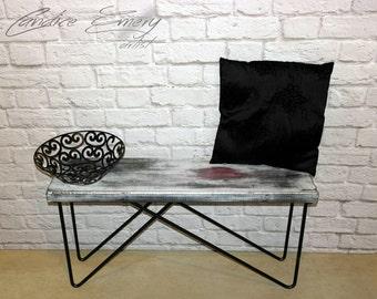 Entryway bench, hallway, wooden coffee table, wood bench, wooden table, hairpin table, hairpin bench, industrial, metal, home decor,