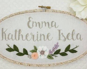 Custom Name Embroidery Oval Hoop Art, Personalized Sign by JayemStitches