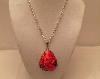 Red Chunky Pendant Necklace