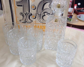 Vintage Austrian Crystal Whiskey Decanter & 6 Glasses - in original box.
