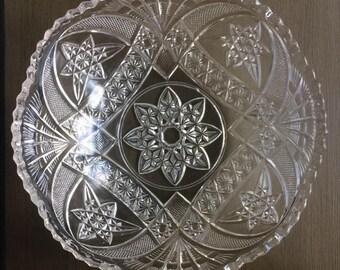 Vintage Cut Glass Dish / Trifle Dish