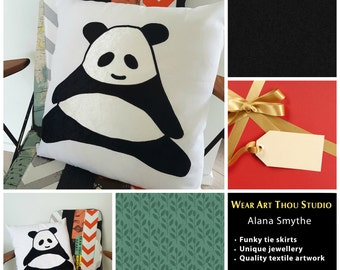Mother's Day Special! Cuddly applique velvet Panda CUSHION COVER/decorative pillow SLIP. Great gift for that cuddly person in your life.