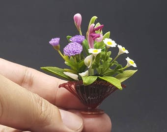 Flower clay by handmade in Glass colour vase for dollhouse miniature or Collectables for Decorate your home