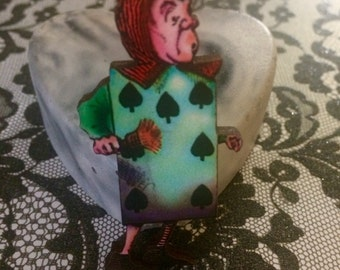 Alice in Wonderland Playing Card Brooch, Wooden Badge