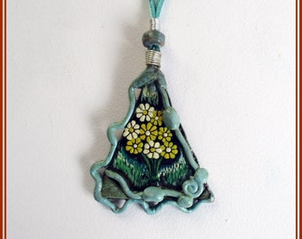 Painted flowers pendant, hippie boho handmade pendant, necklace for women, Christmas gift, exclusive contemporary jewel, sister gift,jewelry