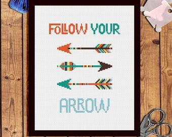 Boho arrows cross stitch pattern Modern cross stitch modern Inspirational quotes cross stitch pattern Quotes embroidery pattern pdf