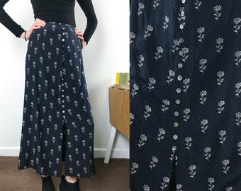 Vintage Laura Ashley button front midi skirt