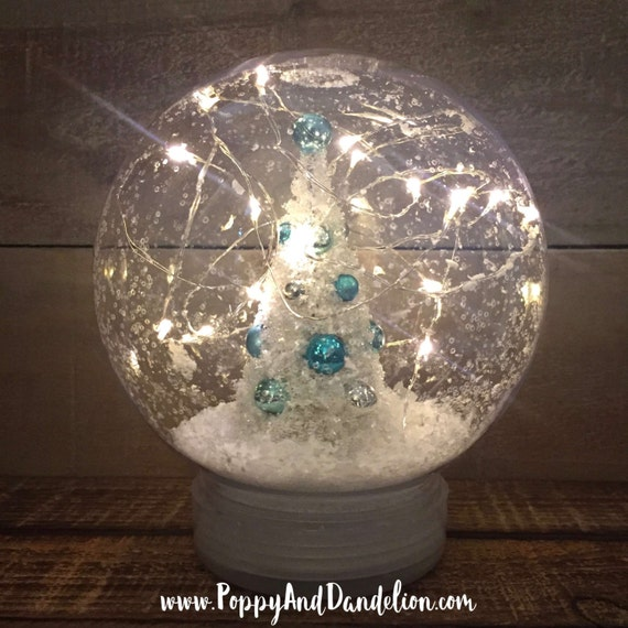 Plastic Snow Globe with Christmas Tree and LED String Lights