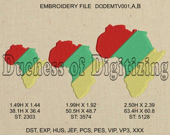 Africa Embroidery Design, Africa Embroidery file, Africa, continent, African Continent, DODEMTV001,A,B