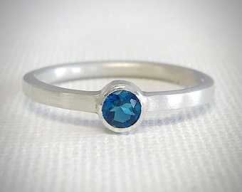 London Blue Topaz and Sterling Silver Ring - 4mm - Blue Topaz Ring - Engagement Ring