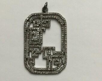 Pave diamond sterling silver  pendant